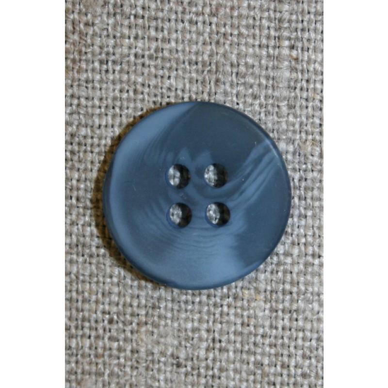 4-huls knap denim blå-meleret, 18 mm.-33