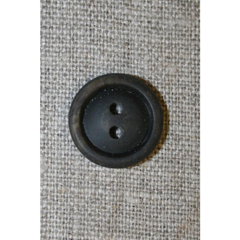 Brun meleret 2-huls knap m/kant, 18 mm.