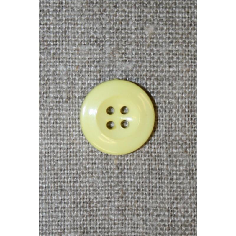 Lysegul 4-huls knap, 15 mm.