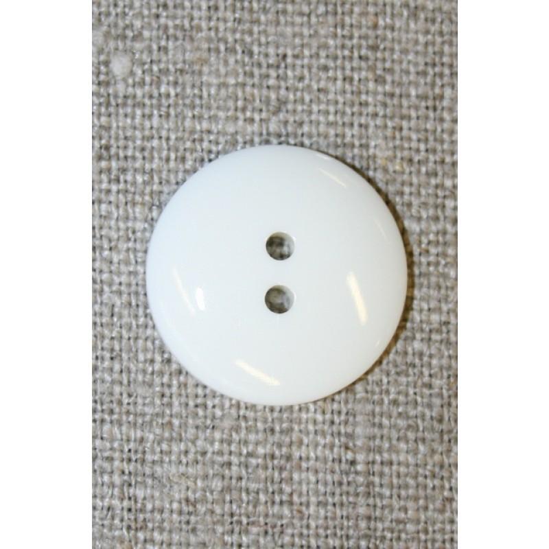 Knækket hvid 2-huls knap, 20 mm.-35