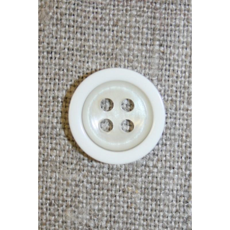 4-huls knap off-white m/hvid kant, 18 mm.-35