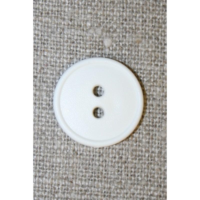 2-huls knap hvid m/kant, 18 mm.