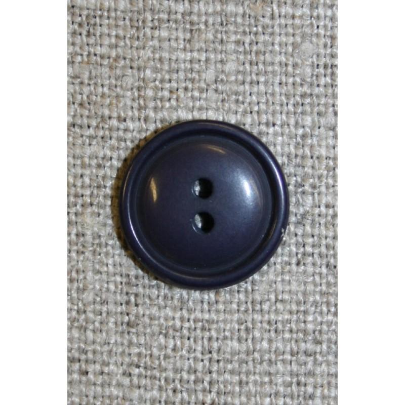 Mørk blå 2-huls knap, 15 mm.-35