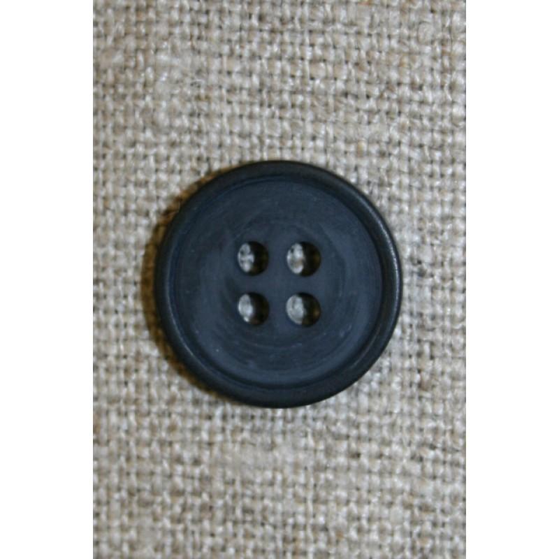 4-huls knap støvet mørkeblå, 15 mm.-33