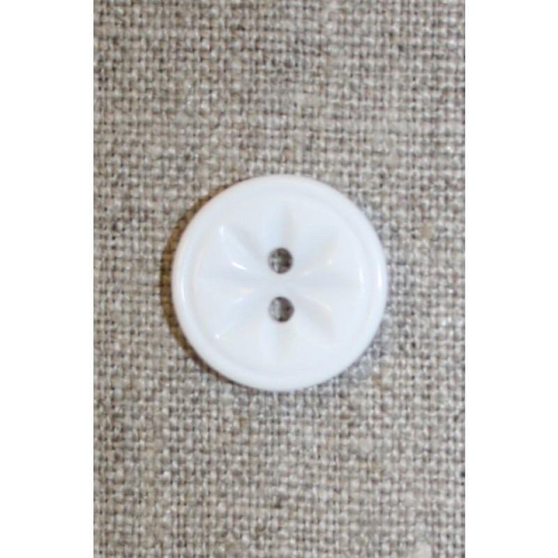 Hvid knap m/blomst, 18 mm.