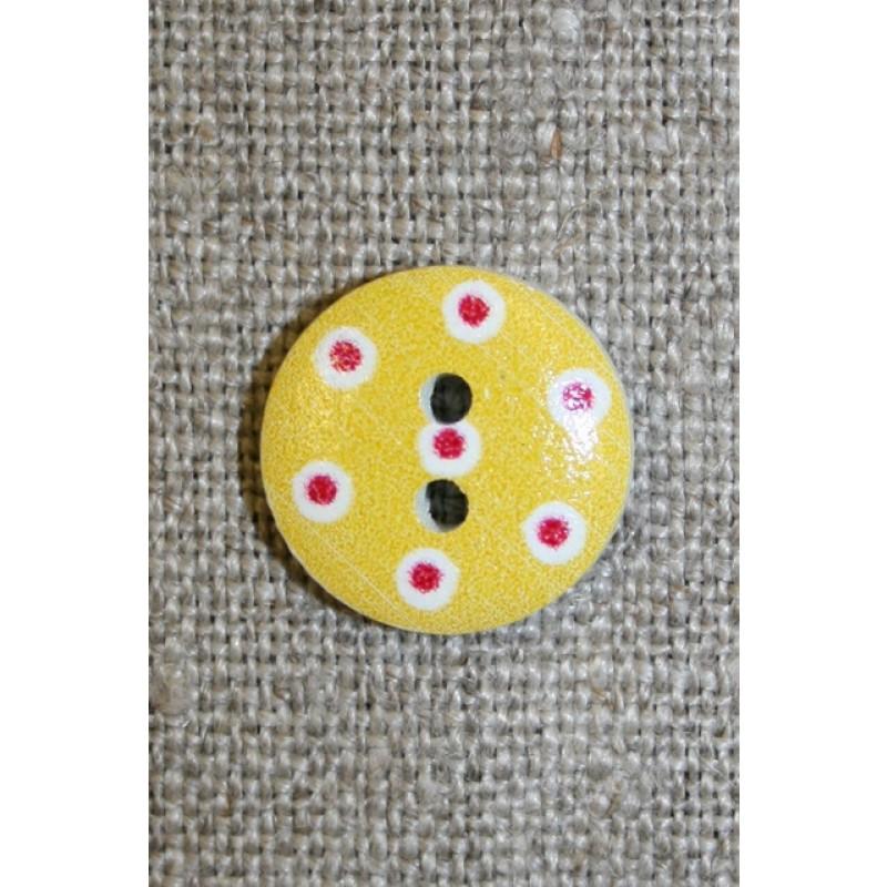 Knap m/prikker, gul/hvid/rød