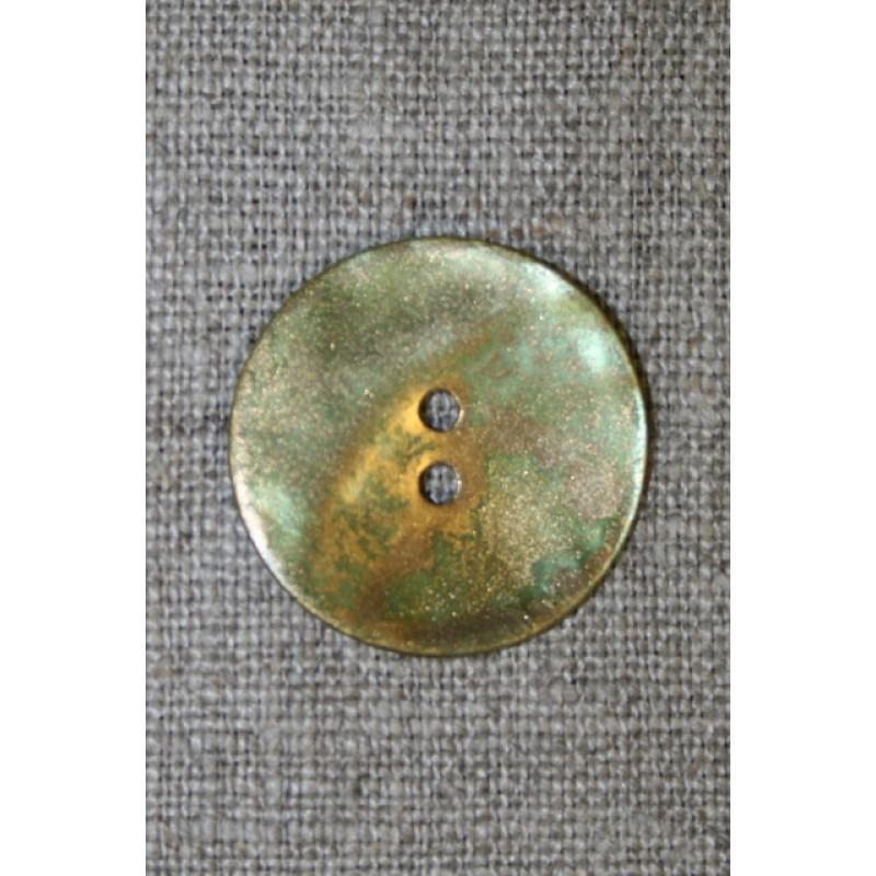 Perlemorsknap guld/lime, 25 mm.
