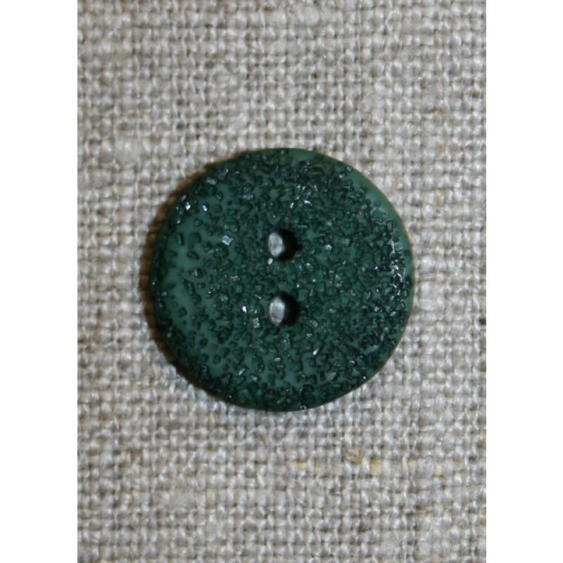 Flaskegrøn ru knap, 18 mm.