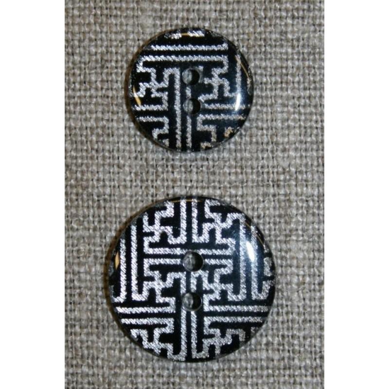 2-huls knap m/grafisk mønster, sort/sølv-31