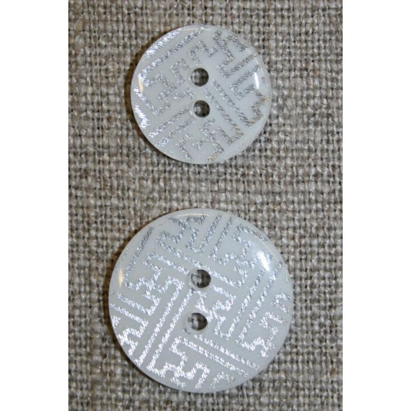 2-huls knap m/grafisk mønster, hvid/sølv, 20 mm.-35