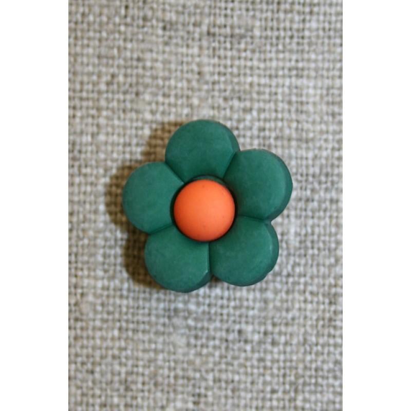 2-farvet blomsterknap flaskegrøn/orange-35