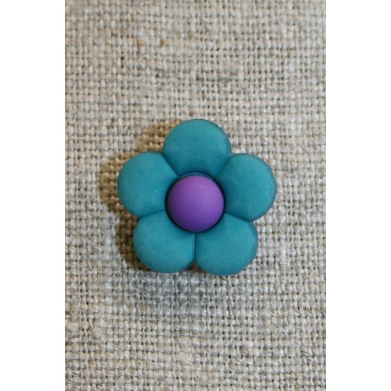 2-farvet blomsterknap petrol/mørkelilla