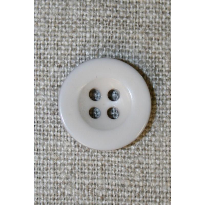 Lysegrå/kit 4-huls knap, 18 mm.