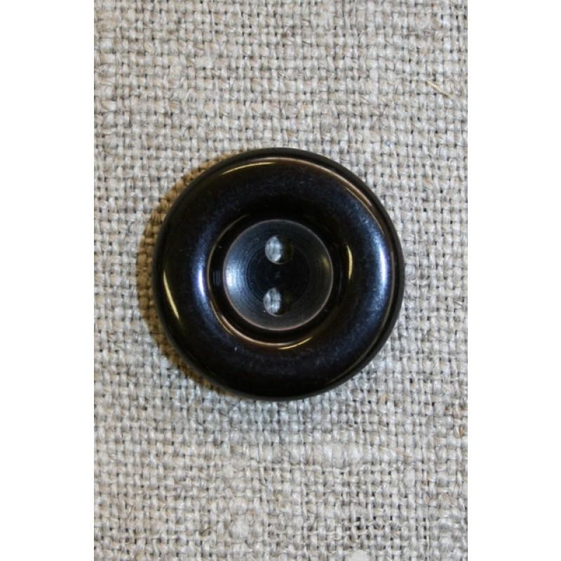 Sort blank 2-huls knap, 20 mm.