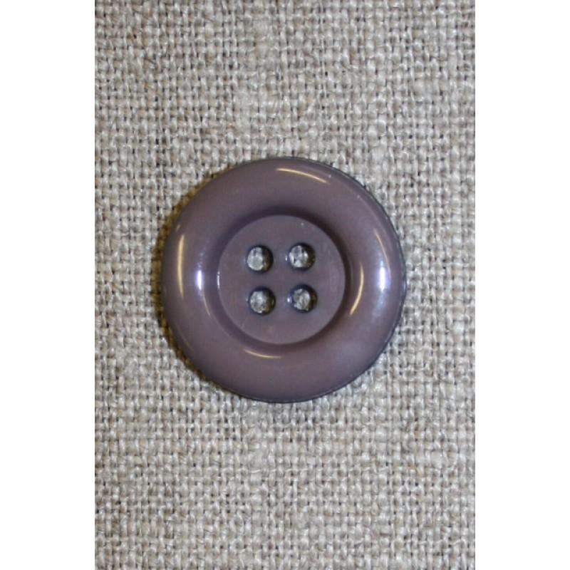 4-huls knap grå m/kant, 20 mm.-35