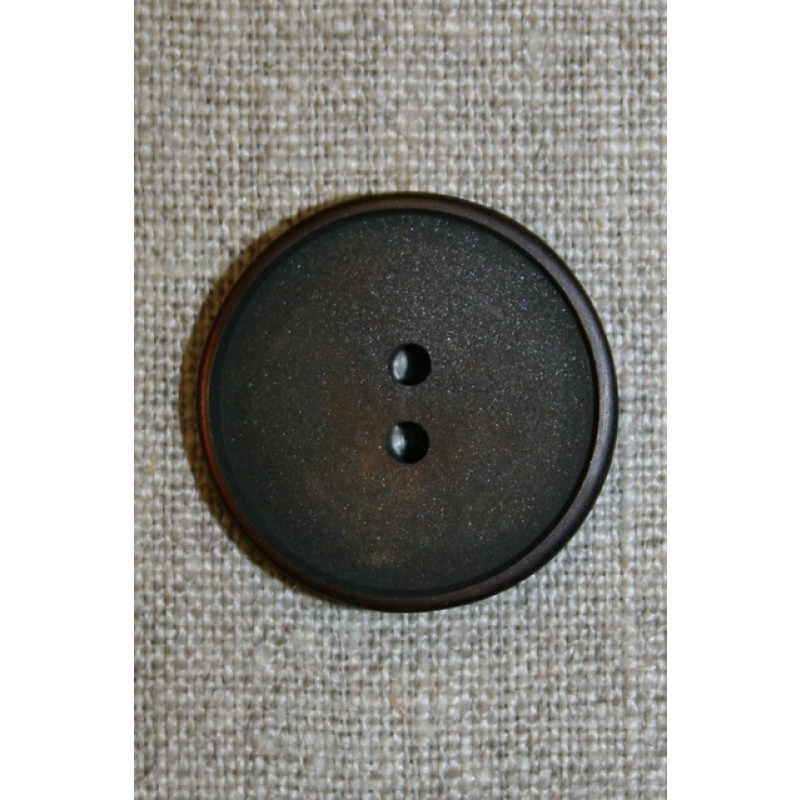 Mørkebrun 2-huls knap 28 mm.-33
