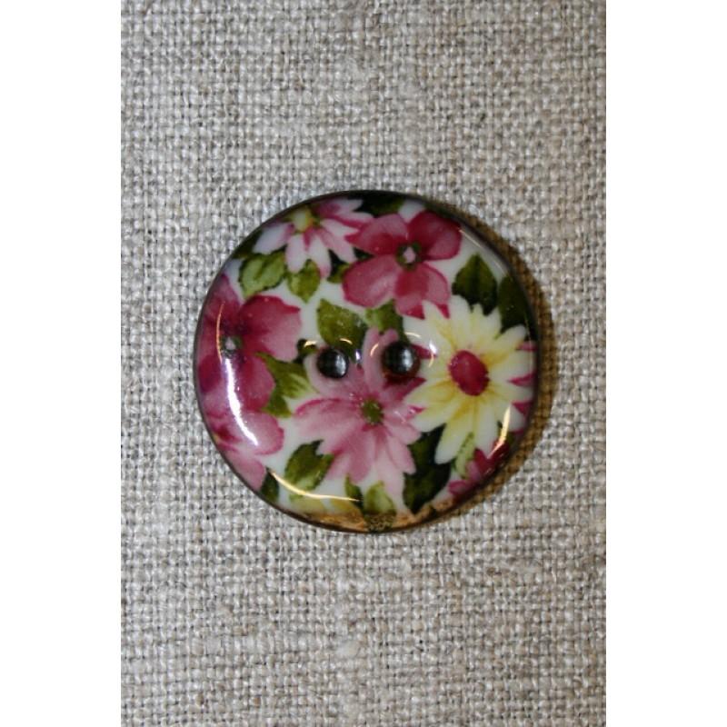 Kokos-knap m/emalje, m/blomster, 28 mm.