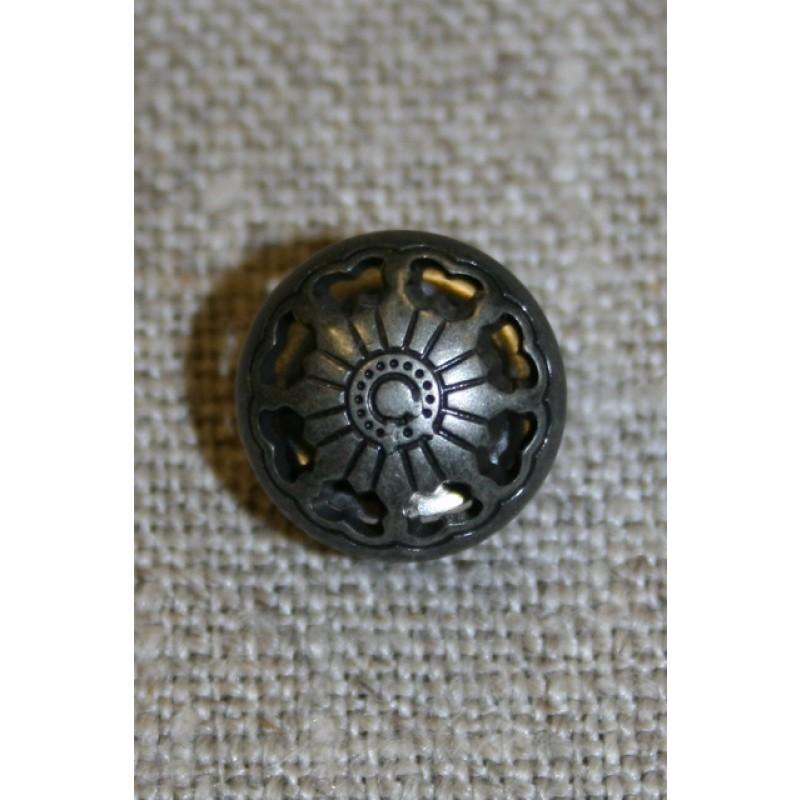 Gun metal knap m/mønster, 13 mm.