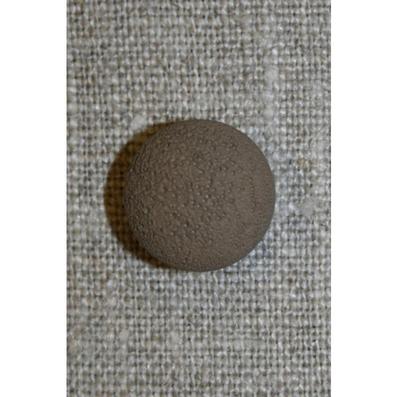 Rund grå-brun knap, 15 mm.