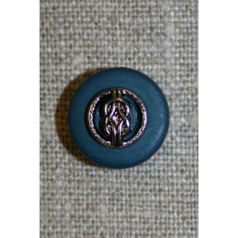 Knap petrol-blå/sølv, 15 mm.