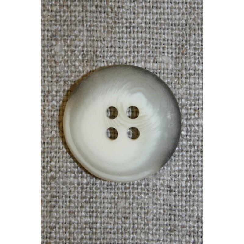 Meleret 4-huls knap off-white/grå, 20 mm.-33