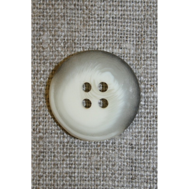 Meleret 4-huls knap off-white/grå, 20 mm.