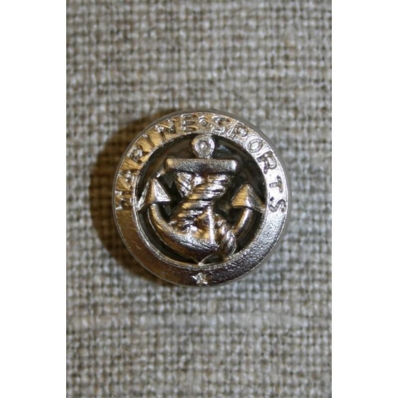 Sølv knap m/anker and tekst-31
