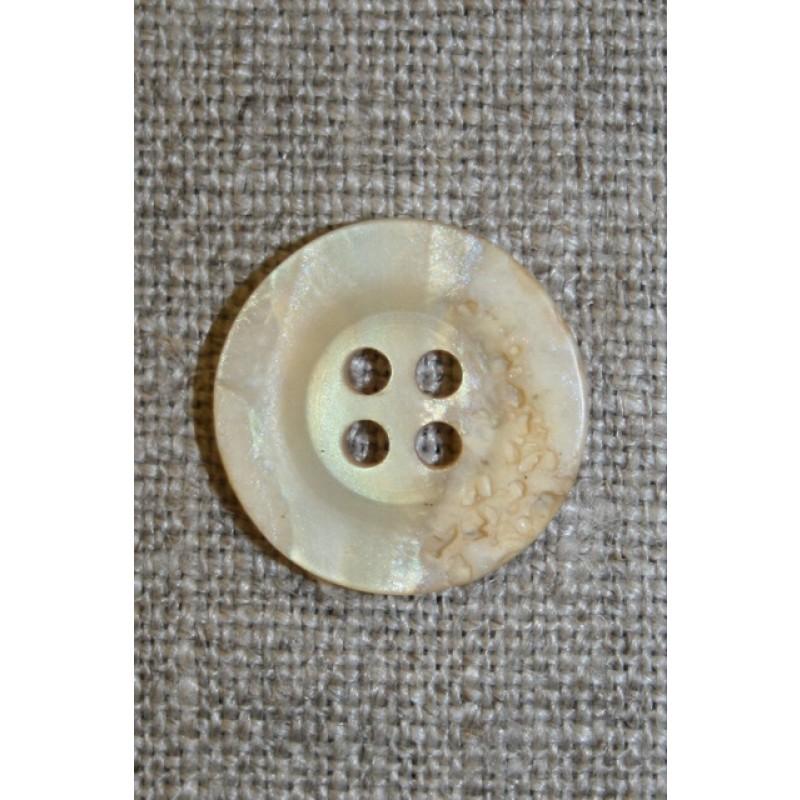 4-huls knap krakeleret creme/lysegul