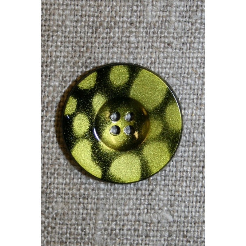 4-huls knap m/pletter sort/lime, 20 mm.