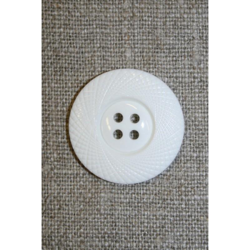 4-huls knap hvid m/mønster-kant, 25 mm.-33