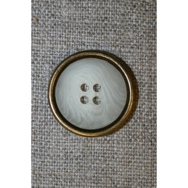 4-huls knap off-white meleret m/guld kant, 22 mm.