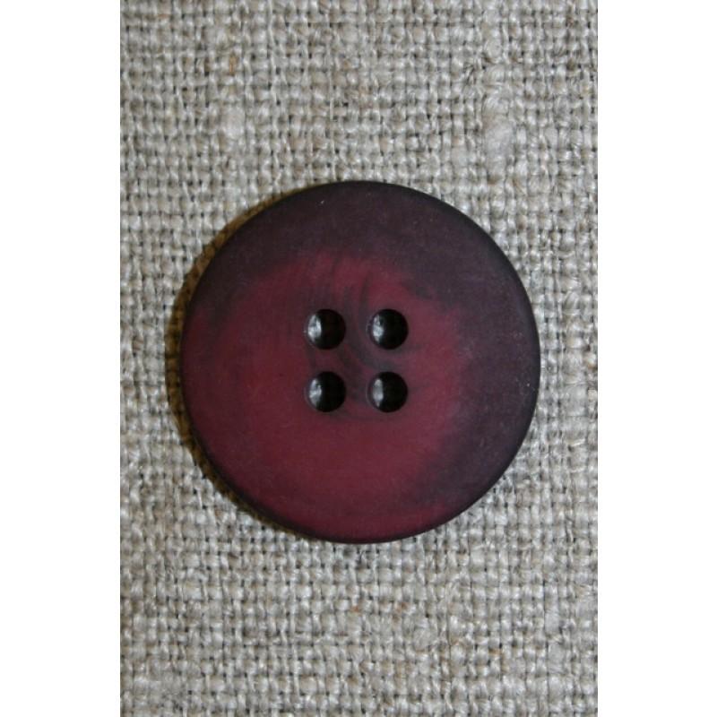 4-huls knap vinrød/bordeaux 20 mm.