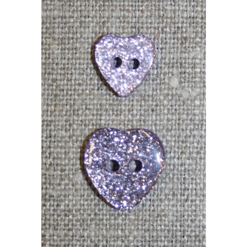 Knap m/glimmer, hjerte i lyselilla 11 mm.-33