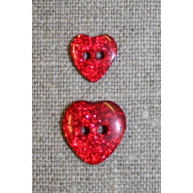 Knap m/glimmer, hjerte i rød