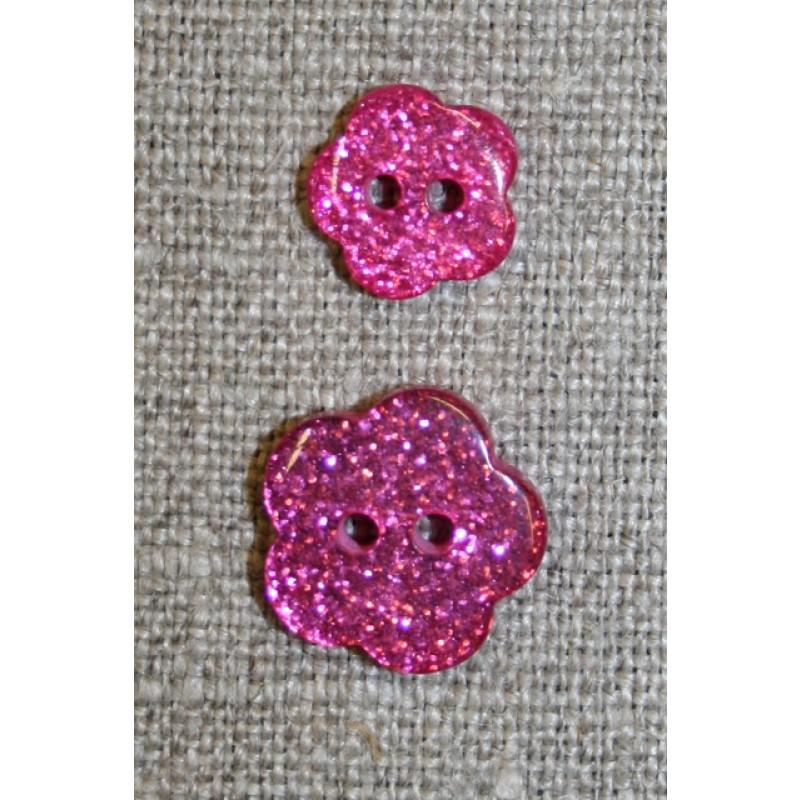 Knap m/glimmer, blomst i pink, 11 mm.-33