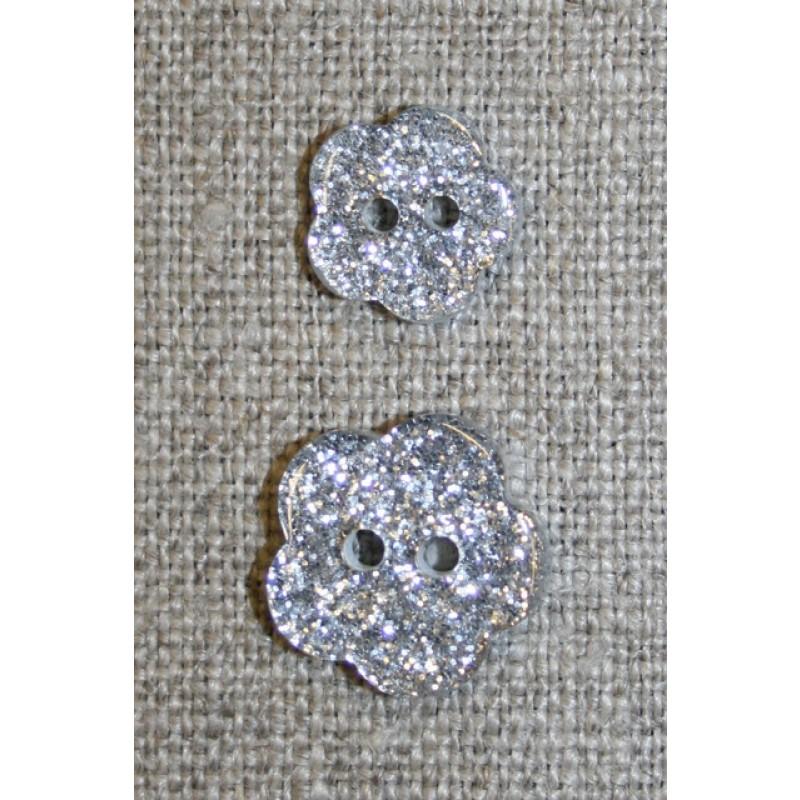 Knap m/glimmer, blomst i sølv, 11 mm.-33