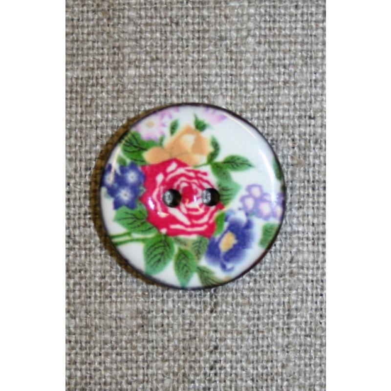 Kokos-knap m/emalje, hvid m/blomster-33