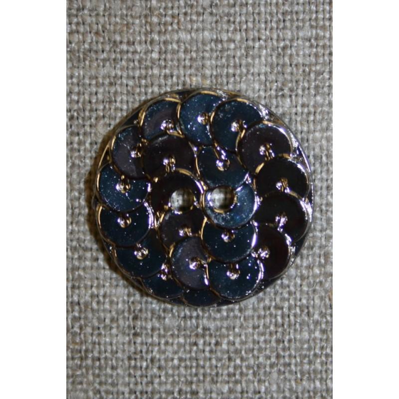 Knap i Palliet-look, sølv 23 mm.-33