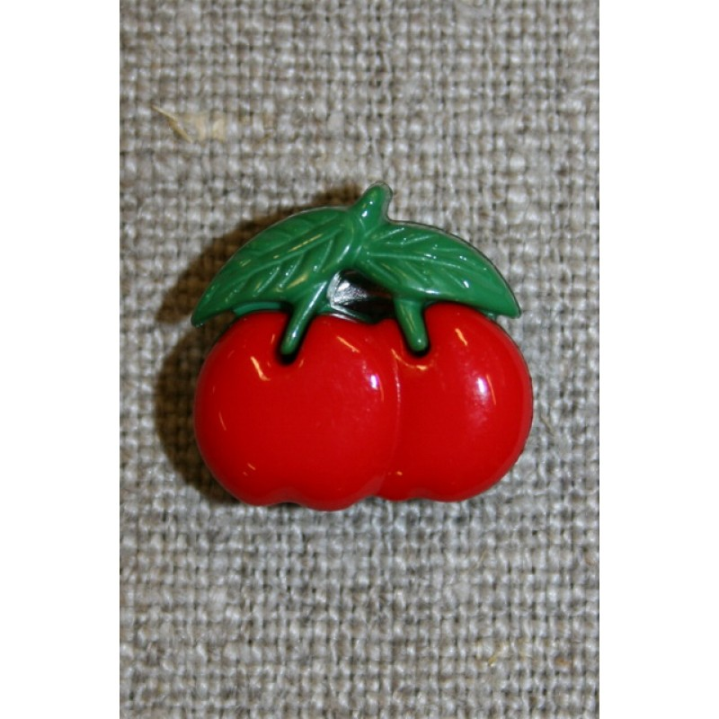Knap m/kirsebær, rød/grøn-33