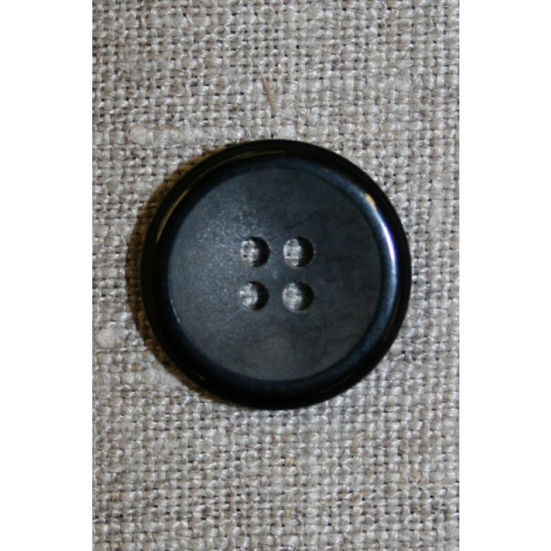 4-huls knap koksgrå meleret m/sort kant 20 mm.-33