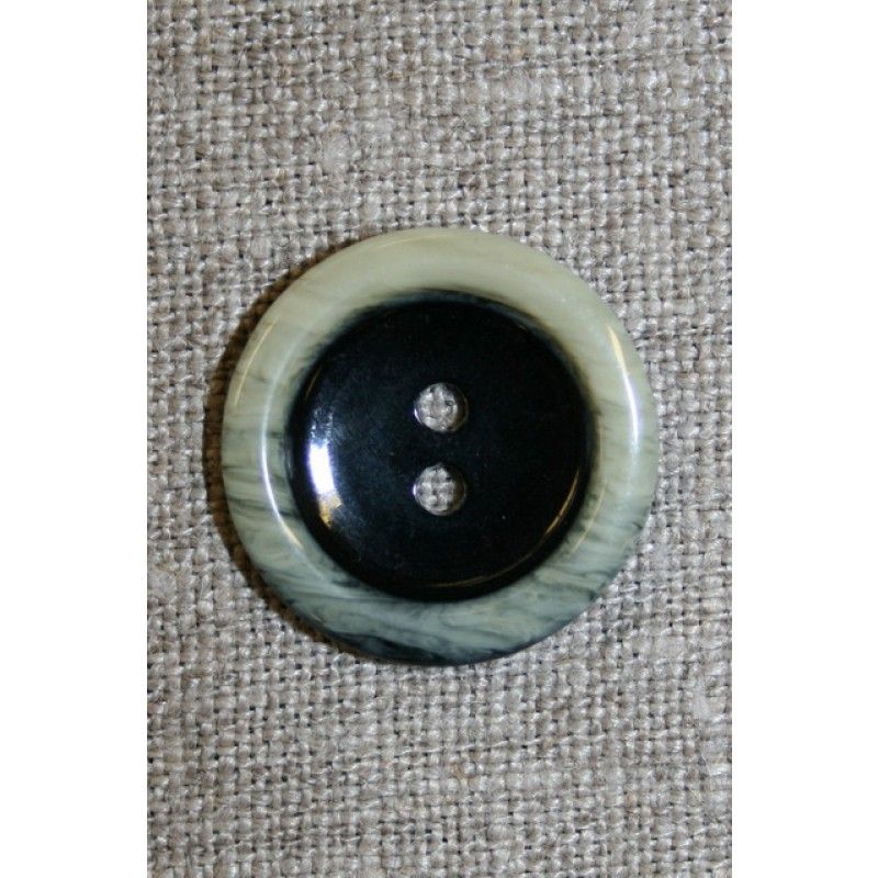 2-huls knap sort m/off-white kant, 22 mm.-33