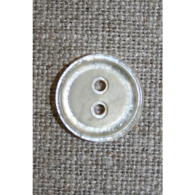 Off-white 2-huls knap, 15 mm.