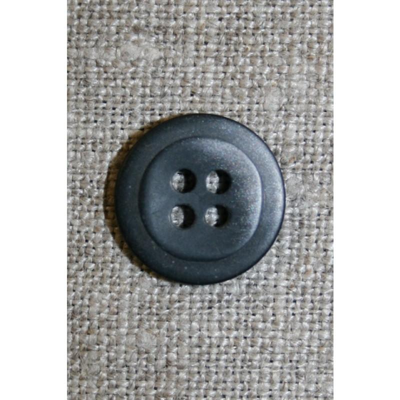 4-huls knap meleret sort/grå, 15 mm.-31
