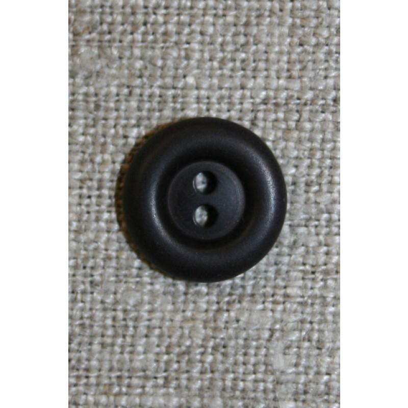 2-huls knap mørkebrun 12 mm.-33