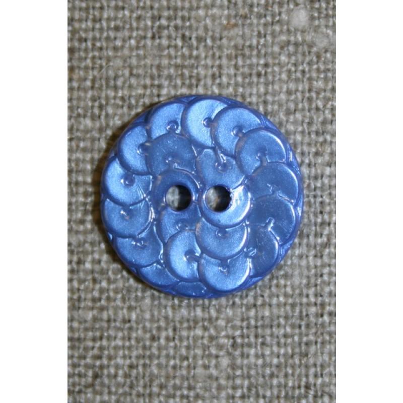 Knap i Palliet-look, blå 18 mm.
