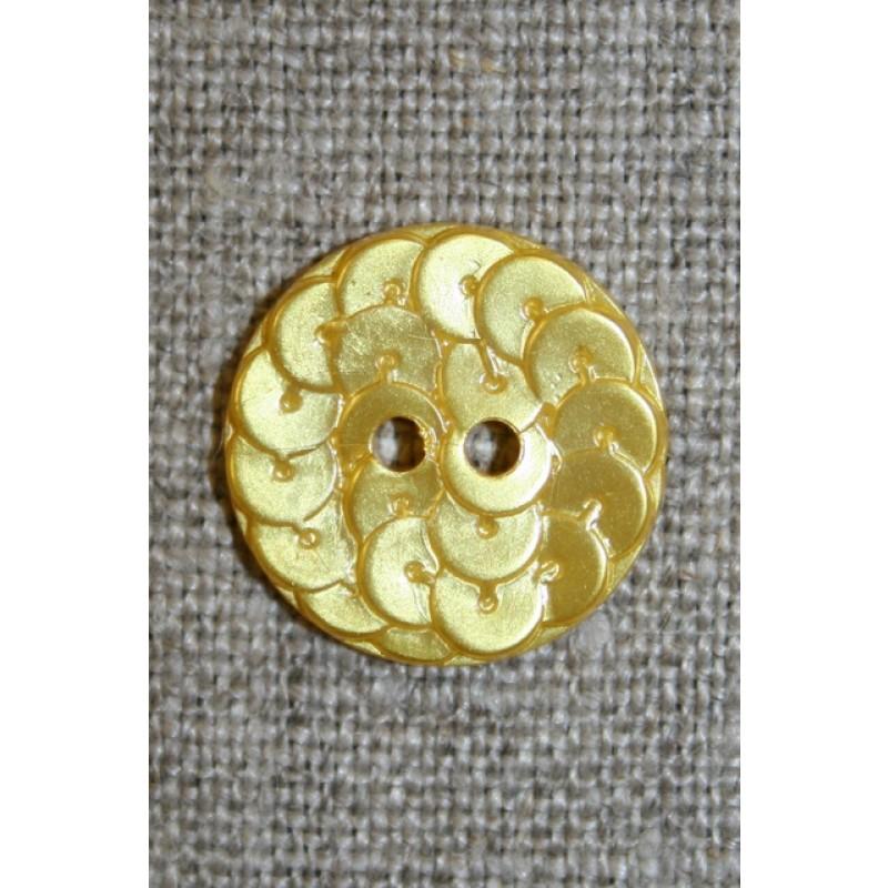 Knap i Palliet-look, gul 18 mm.