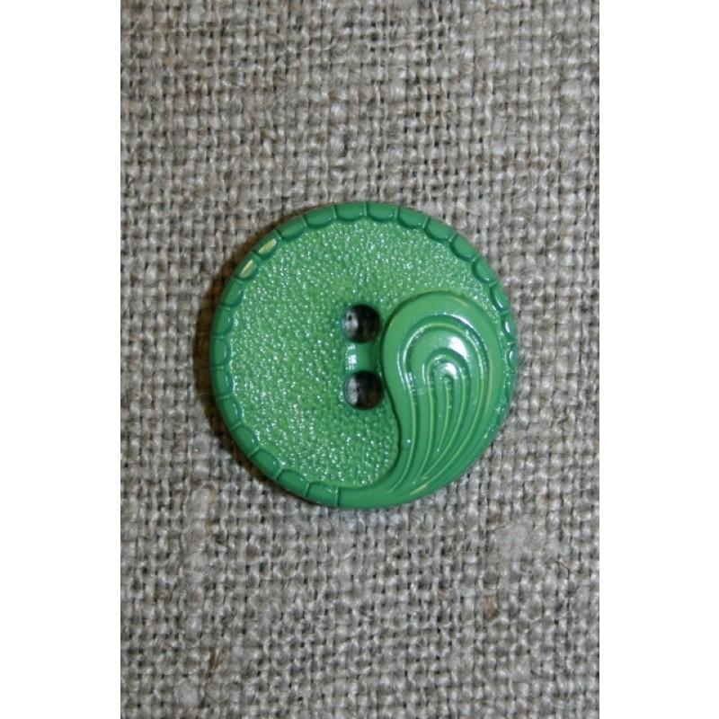 Grøn 2-huls knap m/sjals-mønster