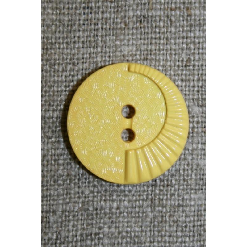 Lys gul knap m/mønster, 20 mm.-35
