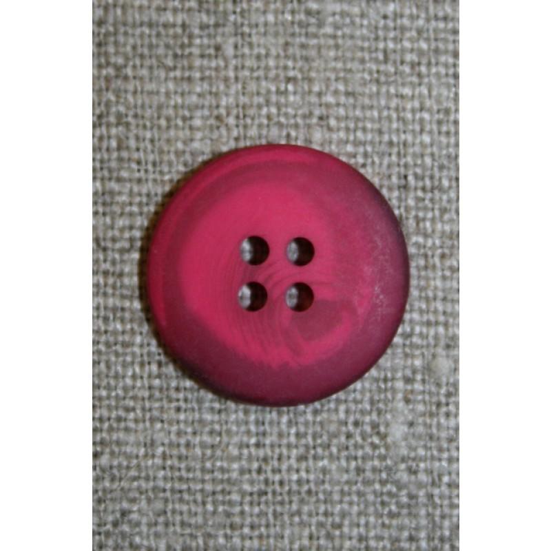 4-huls knap meleret pink/hindbær, 20 mm.-35