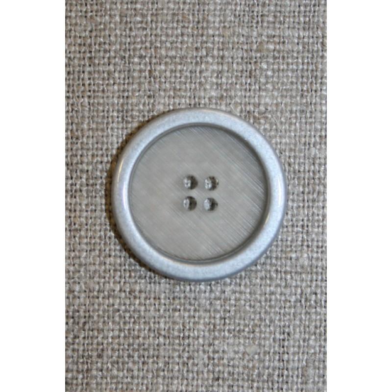 4-huls knap klar m/sølv-kant, 22 mm.-35
